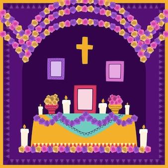 手描きのフラットdiademuertos家族の家の祭壇のイラスト