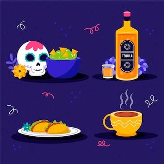 Ручной обращается плоская коллекция продуктов dia de muertos