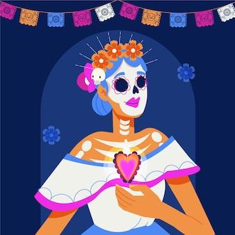 Нарисованная рукой плоская иллюстрация dia de muertos