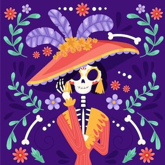 Illustrazione di dia de muertos piatta disegnata a mano
