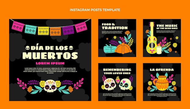 Hand drawn flat dia de muertos instagram posts collection