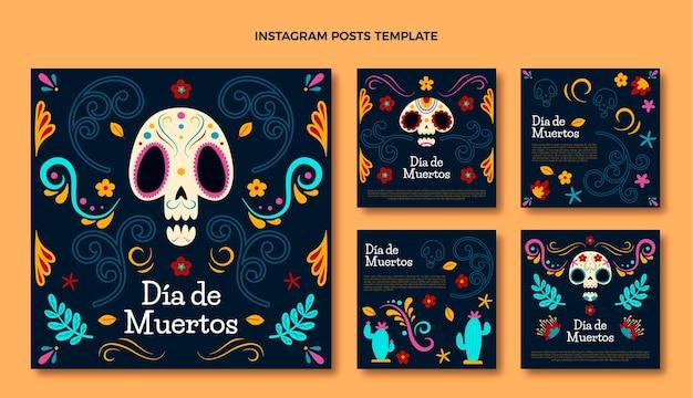 手描きのフラットdiade muertosinstagram投稿コレクション