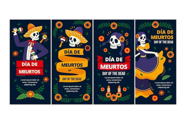 손으로 그린 플랫 dia de muertos 인스타그램 스토리 컬렉션
