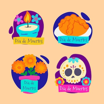 Коллекция рисованной плоских этикеток dia de muertos