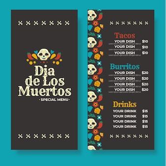 Modello di menu dia de muertos piatto disegnato a mano