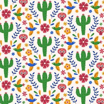 Hand drawn flat dia de muertos pattern design