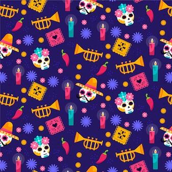 Коллекция рисованной плоских узоров dia de muertos