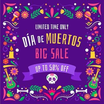 Illustrazione di vendita piatta dia de muertos disegnata a mano