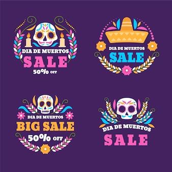 Коллекция рисованной плоской продажи этикеток dia de muertos