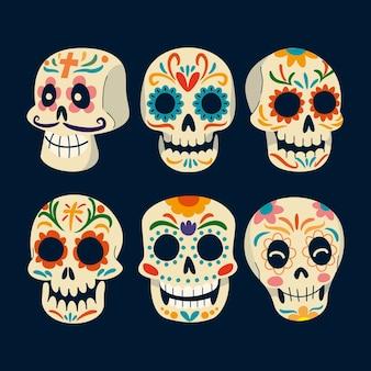 Коллекция рисованной плоских черепов dia de muertos