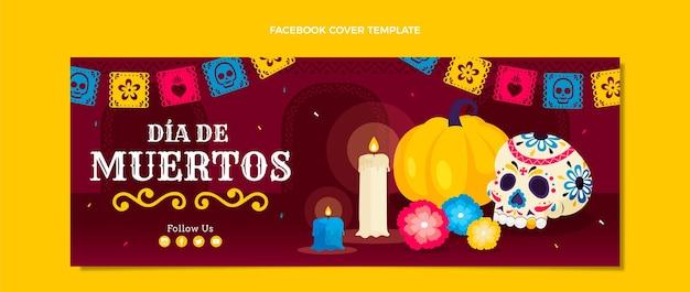 Modello di copertina per social media dia de muertos piatto disegnato a mano