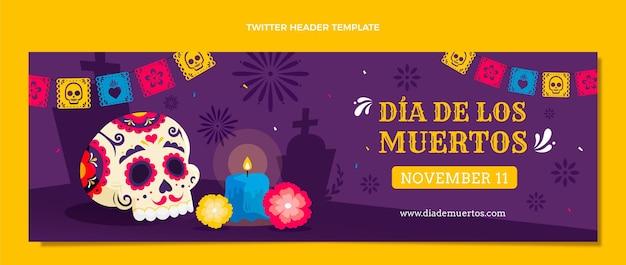 Modello di copertina twitter piatto dia de muertos disegnato a mano