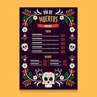 Modello di menu verticale piatto dia de muertos disegnato a mano