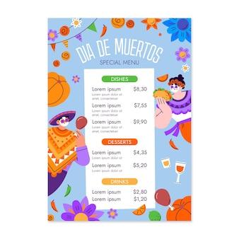 Hand drawn flat dia de muertos vertical menu template