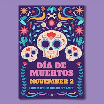 Ручной обращается плоский шаблон вертикального плаката dia de muertos