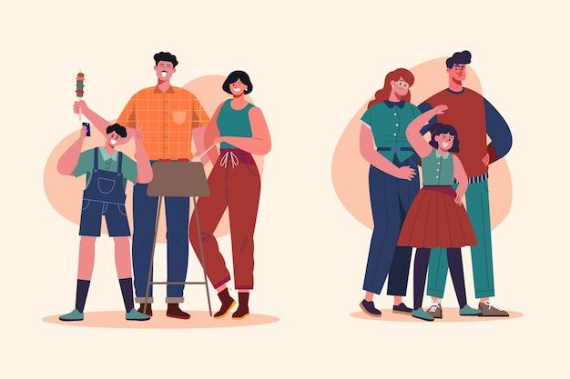 손으로 그린 평평한 가족 장면