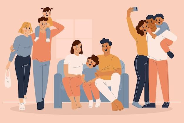 手描きのフラットな家族のシーン