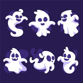 Hand drawn flat ghosts collection