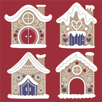 Hand drawn flat gingerbread houses collection