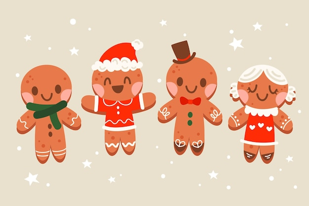 Hand drawn flat gingerbread man cookies collection