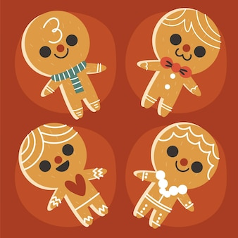 Hand drawn flat gingerbread men cookie collection