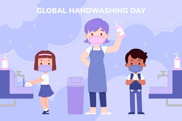 Fondo di giorno di lavaggio delle mani globale piatto disegnato a mano