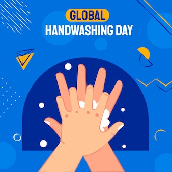 Hand drawn flat global handwashing day illustration