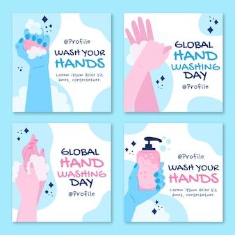 Ручной обращается плоский глобальный день мытья рук коллекция сообщений instagram