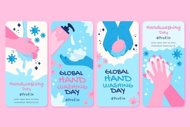 Hand drawn flat global handwashing day instagram stories collection