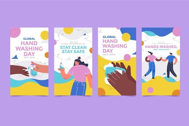 Raccolta di storie di instagram per il giorno del lavaggio delle mani globale piatto disegnato a mano