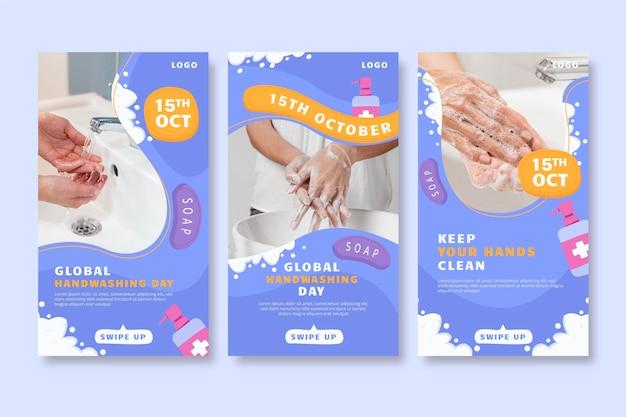 Ручной обращается плоский глобальный день мытья рук коллекция историй instagram