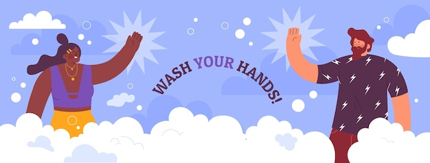 Modello di copertina dei social media per la giornata mondiale del lavaggio delle mani piatto disegnato a mano