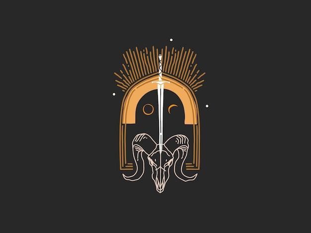 Нарисованные рукой плоские графические элементы логотипа иллюстрации, искусство волшебной линии в простом стиле