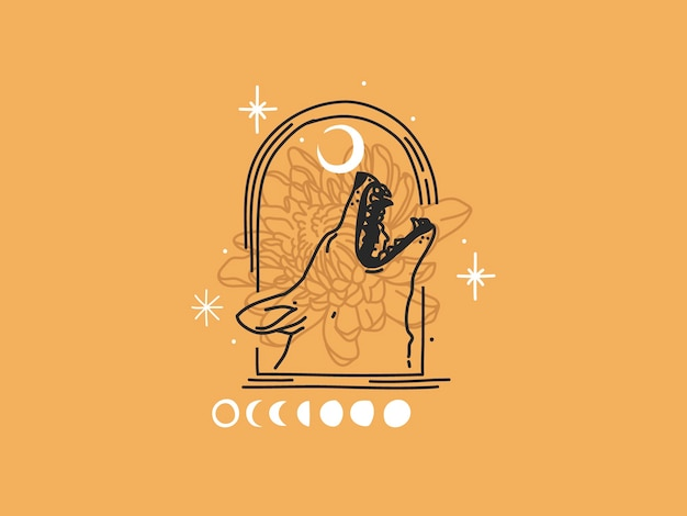 Hand drawn   flat graphic illustration with logo elements ,howling wolf head and moon magic line art in simple style