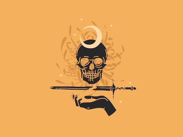 Нарисованная рукой плоская графическая иллюстрация с элементами логотипа, черепом, мечом и цветами, искусством луны волшебной линии в простом стиле
