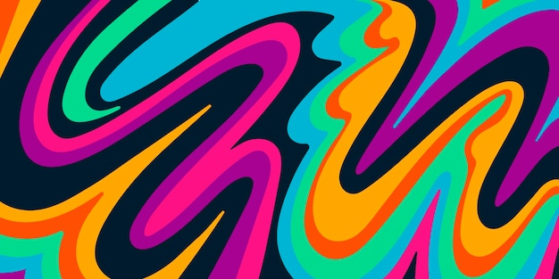 Hand drawn flat groovy psychedelic background