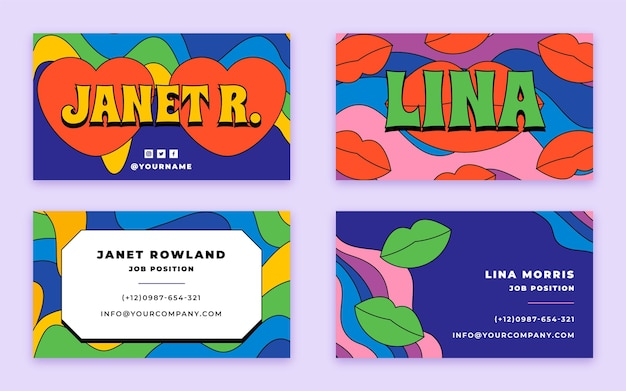 Hand drawn flat groovy psychedelic business card template