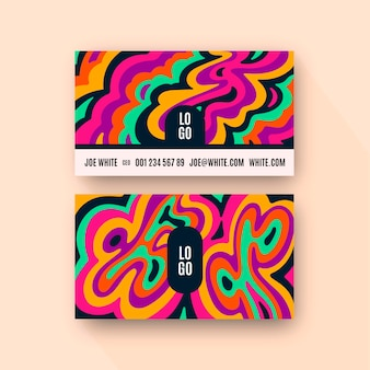 Hand drawn flat groovy psychedelic business cards