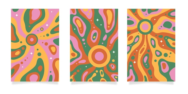 Hand drawn flat groovy psychedelic covers
