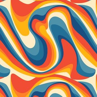 Disegno del modello psichedelico piatto groovy disegnato a mano