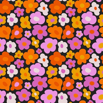 Hand drawn flat groovy psychedelic pattern design