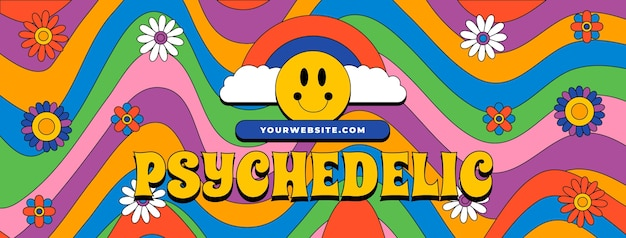 Hand drawn flat groovy psychedelic social media cover template