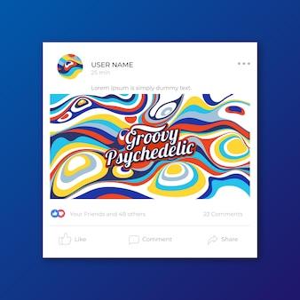 Modello di post social media psichedelico piatto groovy disegnato a mano