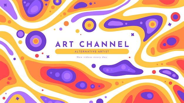 Hand drawn flat groovy psychedelic youtube channel art