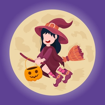 Hand drawn flat halloween background. vector illustration