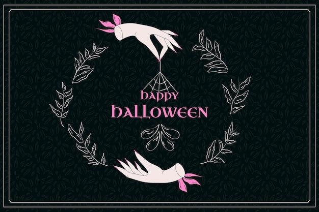Hand drawn flat halloween background