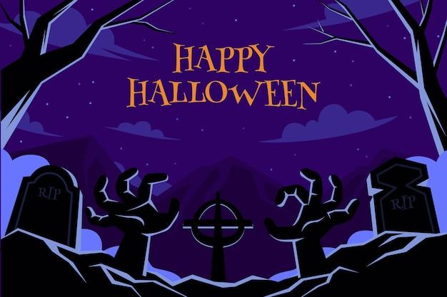 Hand drawn flat halloween background Premium Vector