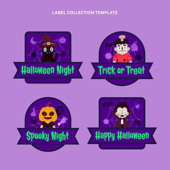 Hand drawn flat halloween badges collection