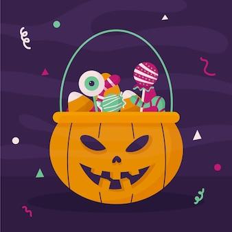 Hand drawn flat halloween bag illustration