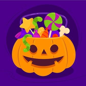 Illustrazione disegnata a mano della borsa di halloween piatta